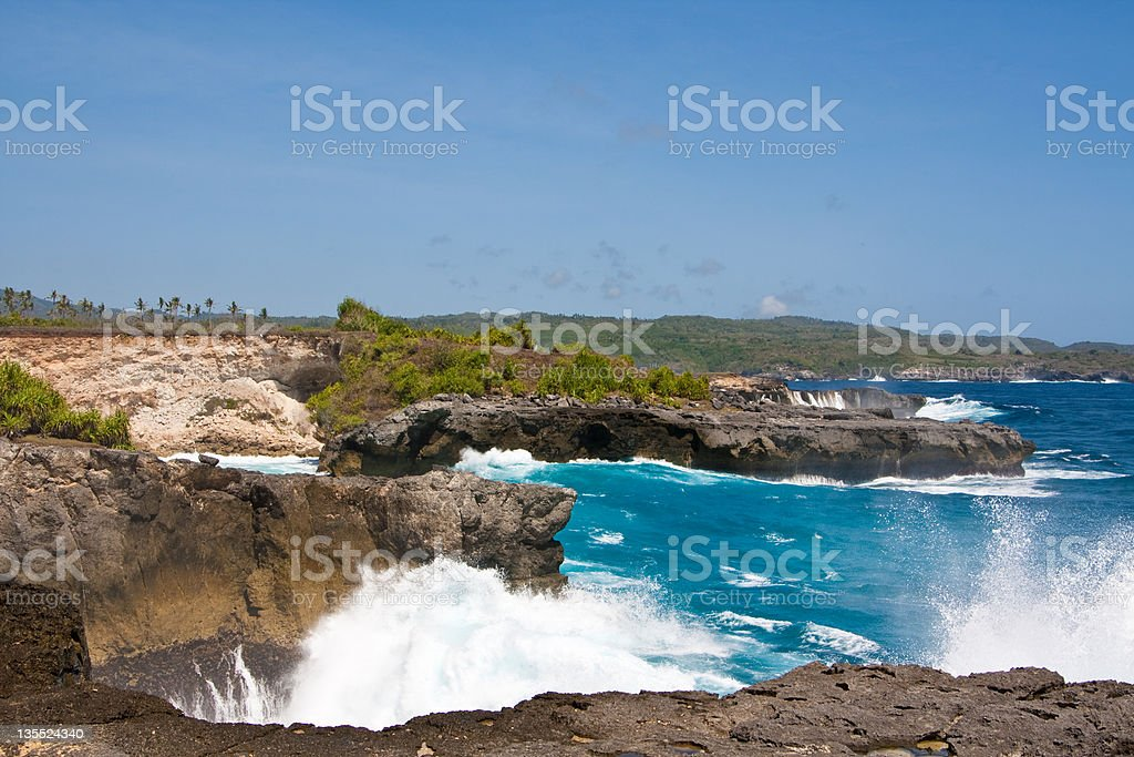 Coastline of Lembongan island stock photo