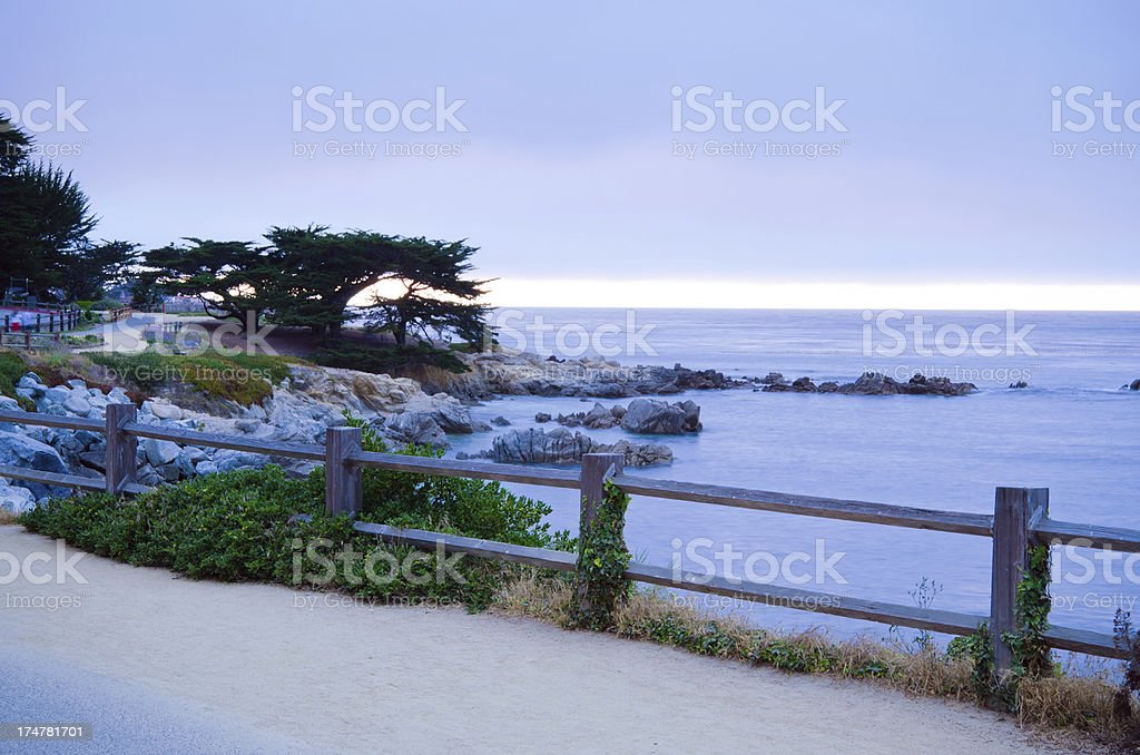 Coastline of Pacific Grove, CA in Monterey County at night stock photo