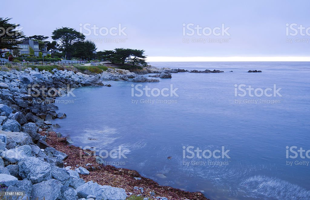 Coastline of Pacific Grove, CA in Monterey County at night royalty-free stock photo