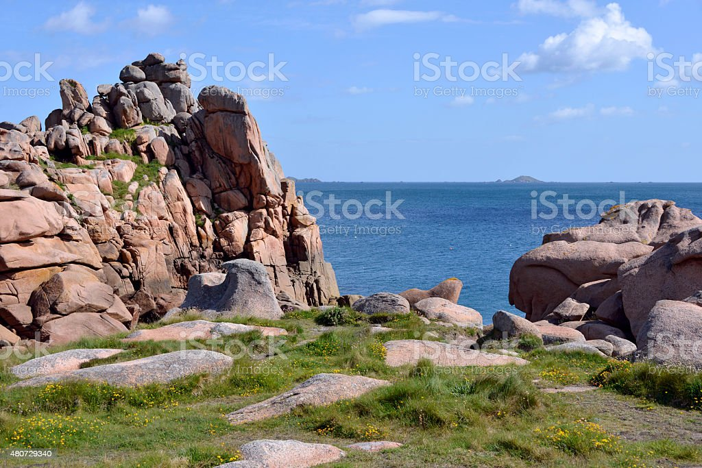 Coastline of Ploumanac'h in France stock photo