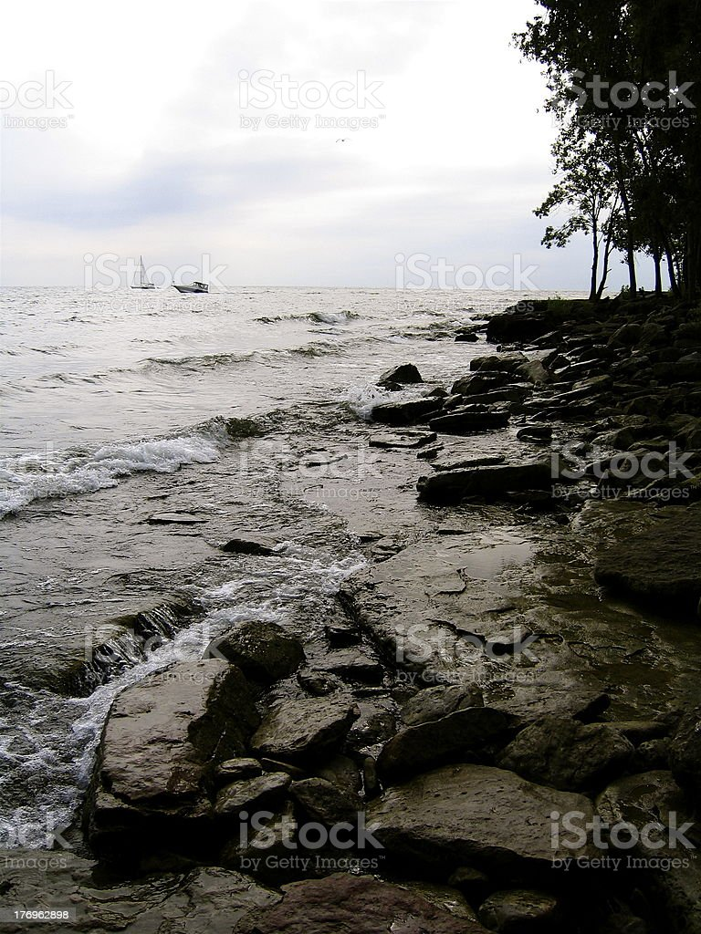Coastline of South Bass Island royalty-free stock photo
