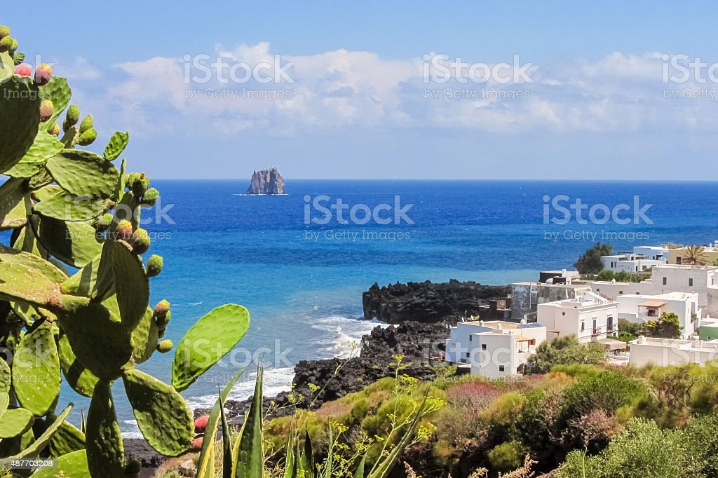 Coastline of Stromboli with white houses stock photo