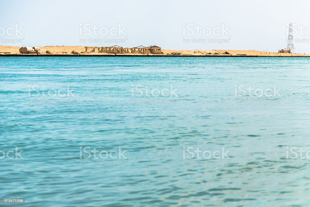Coastline of Suez Canal stock photo