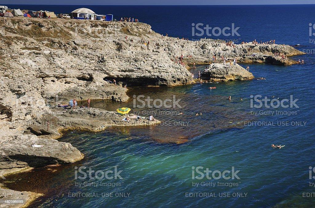 Coastline of Tarhankut, Crimea stock photo