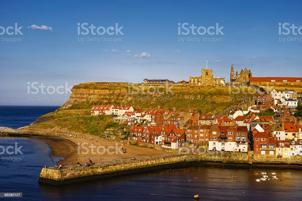 Coastline of Whitby Harbor and Abbey royalty-free stock photo