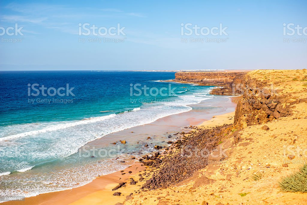 Coastline on Fuerteventura island near El Cotillo village stock photo