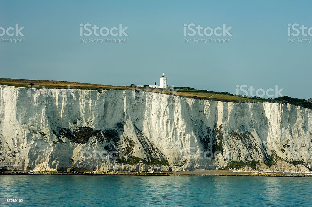 coastline seen when arriving at dover with the boat stock photo