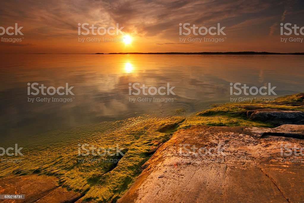 Coastline sunset royalty-free stock photo
