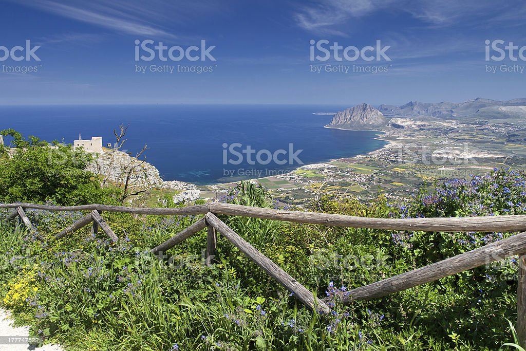 Coastline view from Erice Town, Sicily. royalty-free stock photo