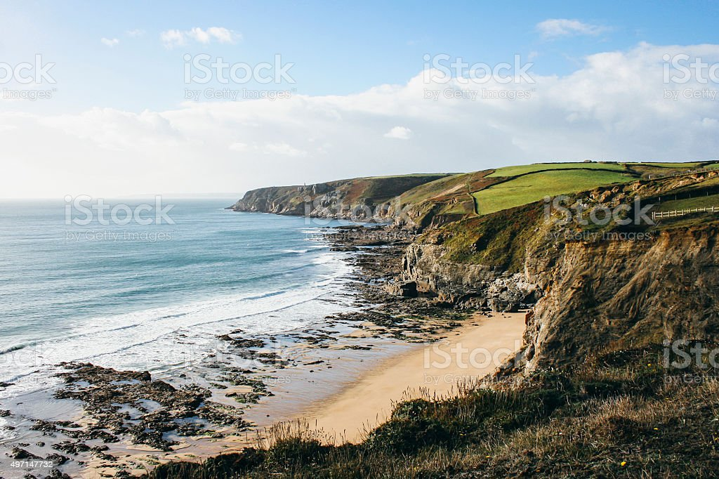 Coastline west of Porthleven on the south coast of Cornwall stock photo