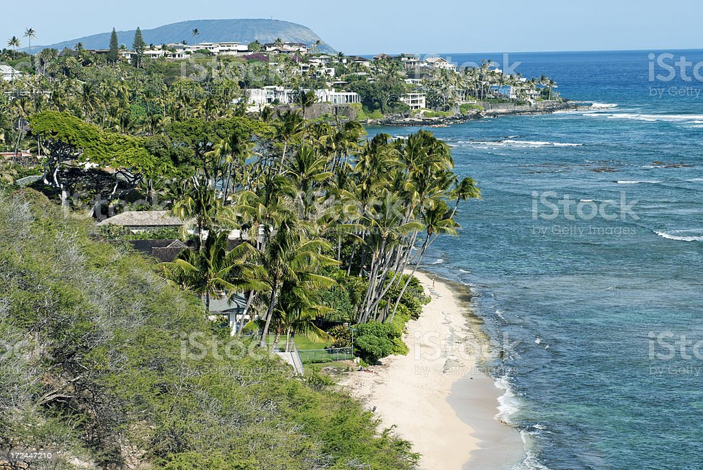 Coastline with expensive homes on Oahu HI royalty-free stock photo