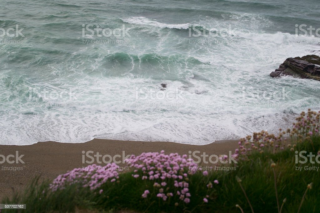 Coastline with large green waves stock photo