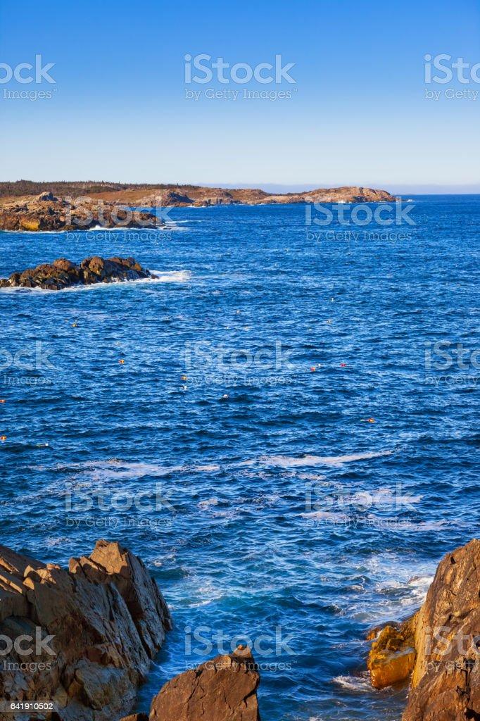 Coastline with Lobster Trap Buoys in Nova Scotia Canada stock photo