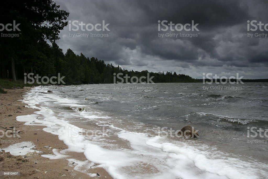 Coastline with moody sky stock photo
