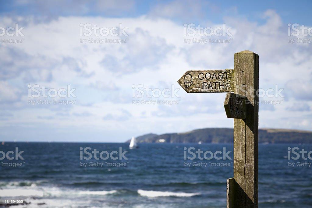 Coastpath signpost England South Coast blue sea royalty-free stock photo