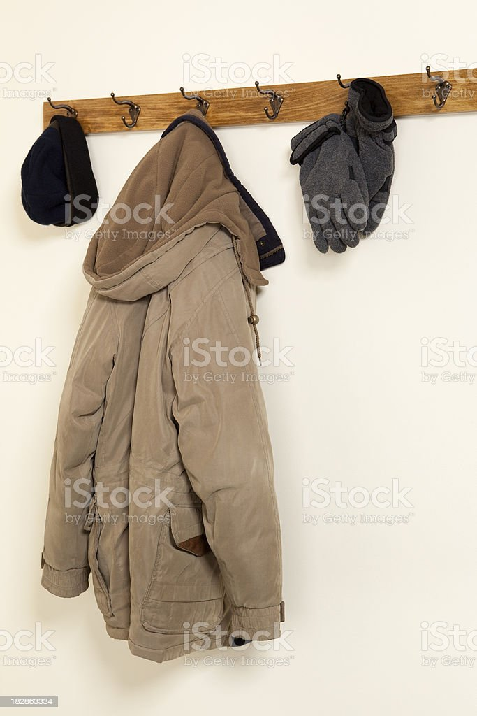 Coat Gloves and Hat Hanging stock photo