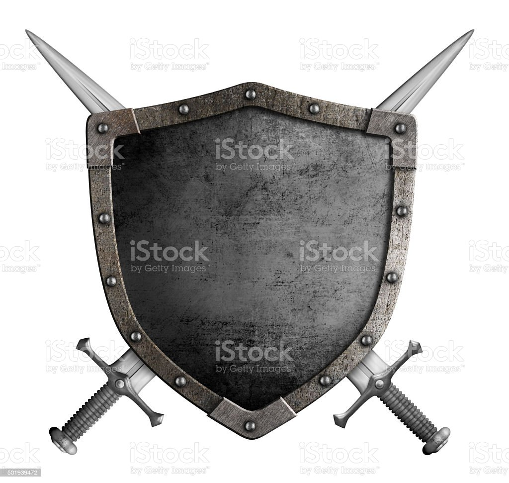 coat of arms medieval knight shield and crossed swords isolated stock photo