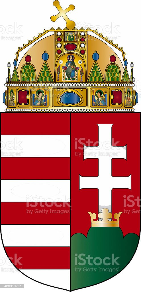 Coat of arms of Hungary stock photo