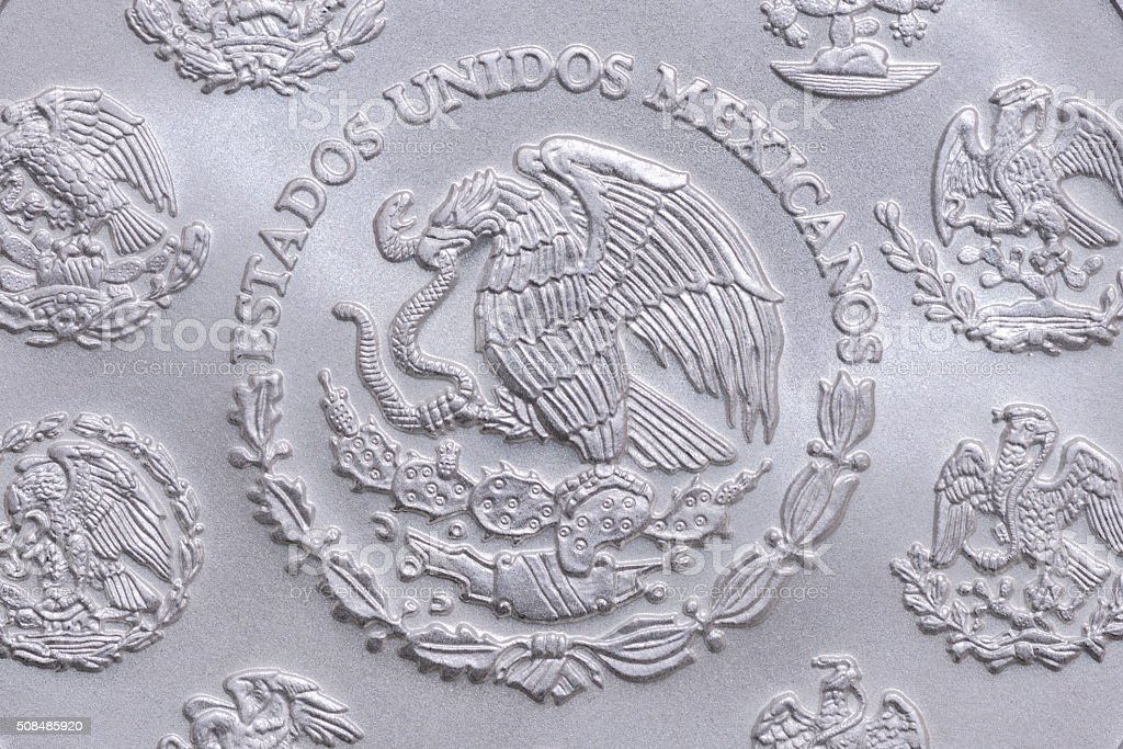 Coat of arms of Mexico on silver coin stock photo