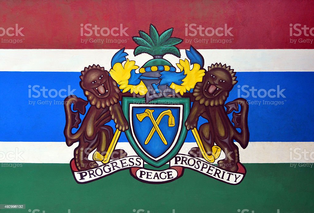 Coat of arms of The Gambia stock photo