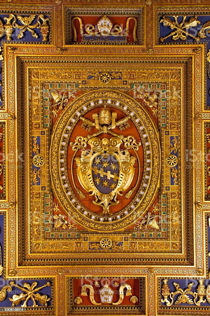 Coat of arms of the Pope Clement VIII stock photo