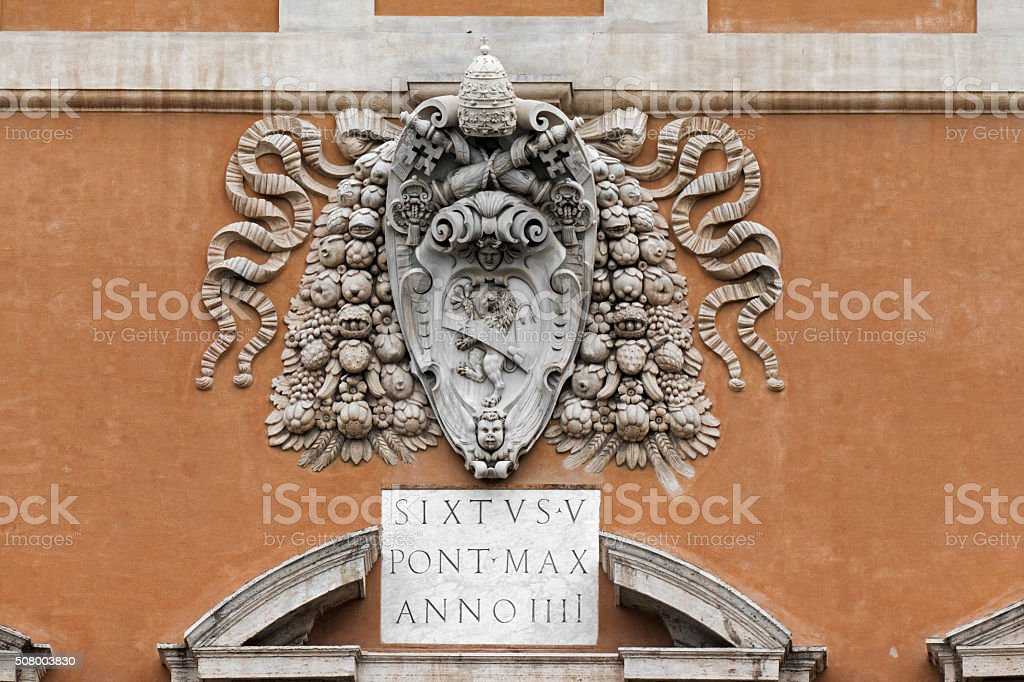 Coat of Arms of the Pope Sixtus V stock photo