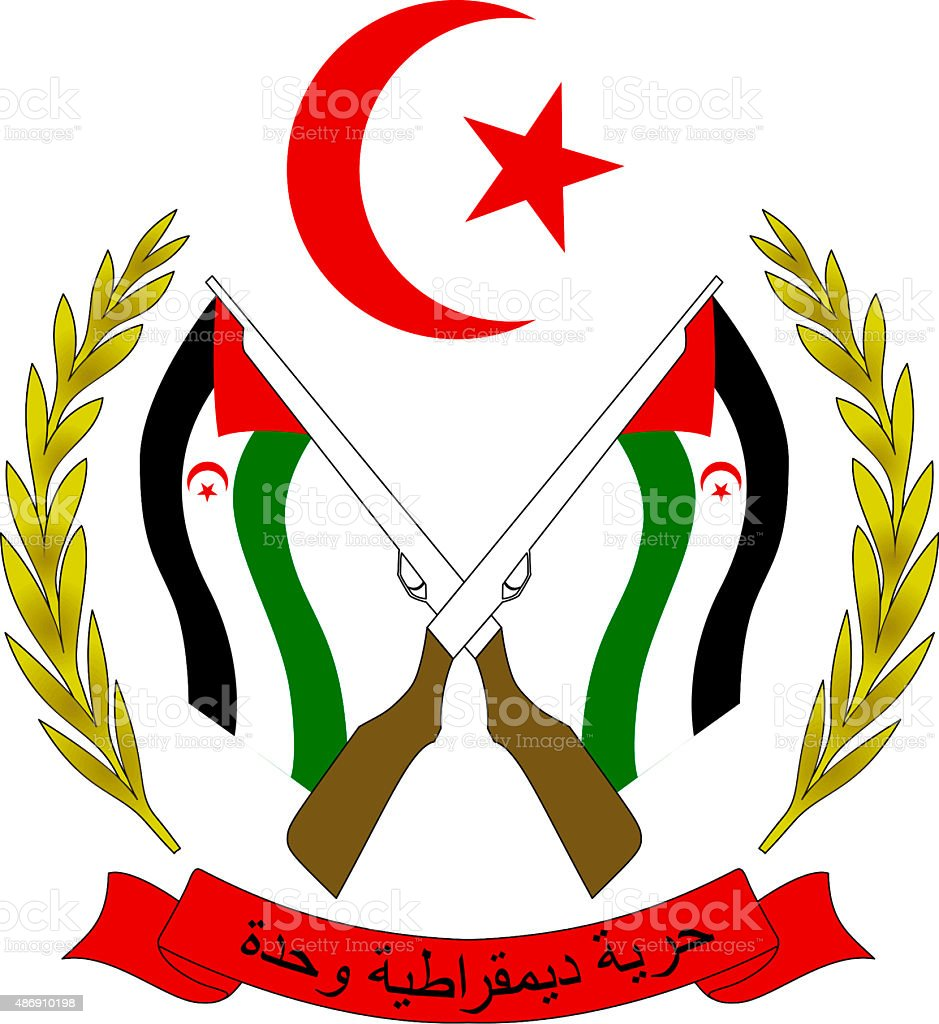 Coat of arms of the Western Sahara stock photo