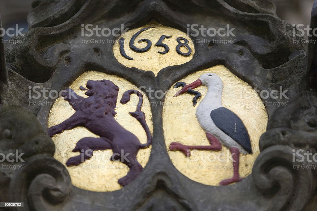coat of arms with lion and stork royalty-free stock photo