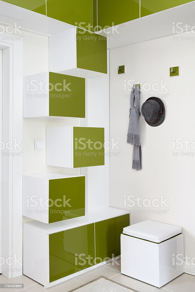 coat rack / shoe cabinet stock photo