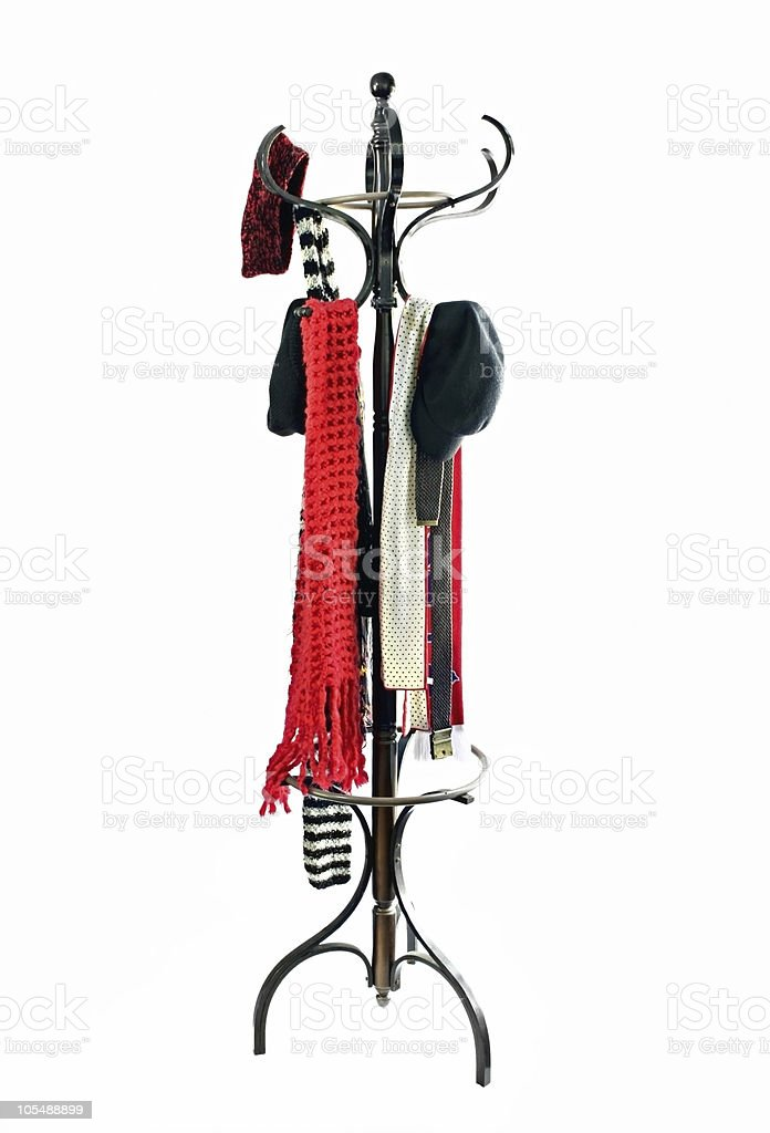 Coat Rack with Hats and Scarves stock photo