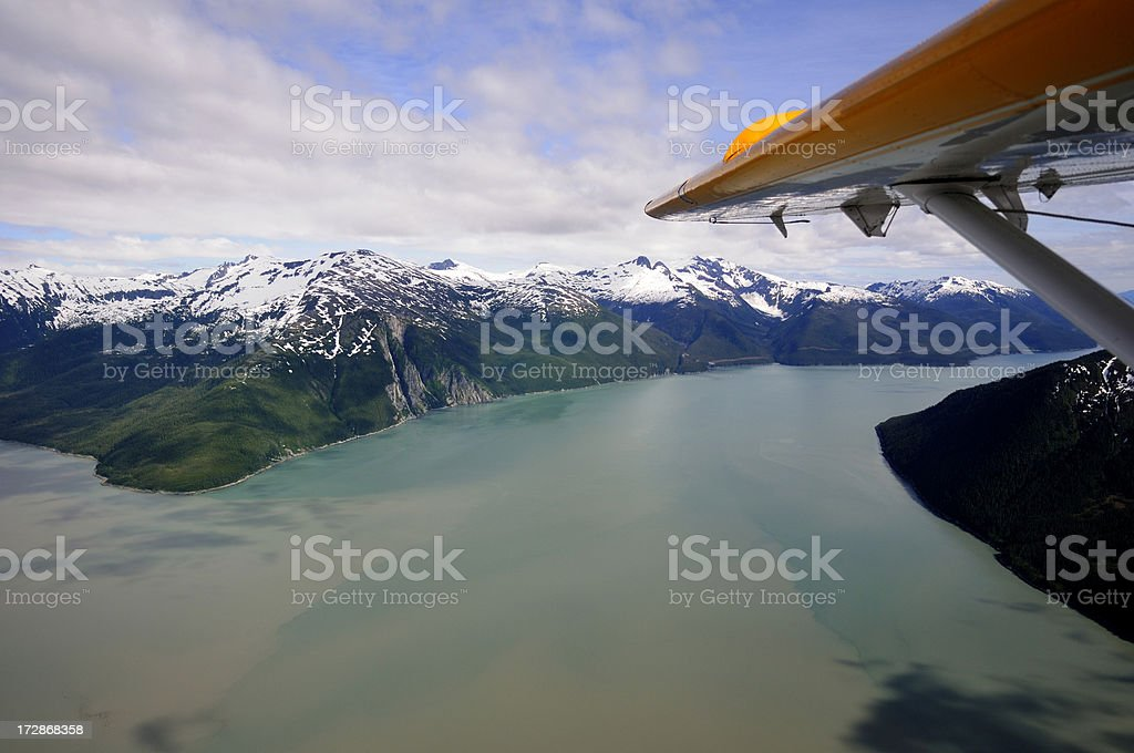 Coatal mountains in Alaska from the air. stock photo