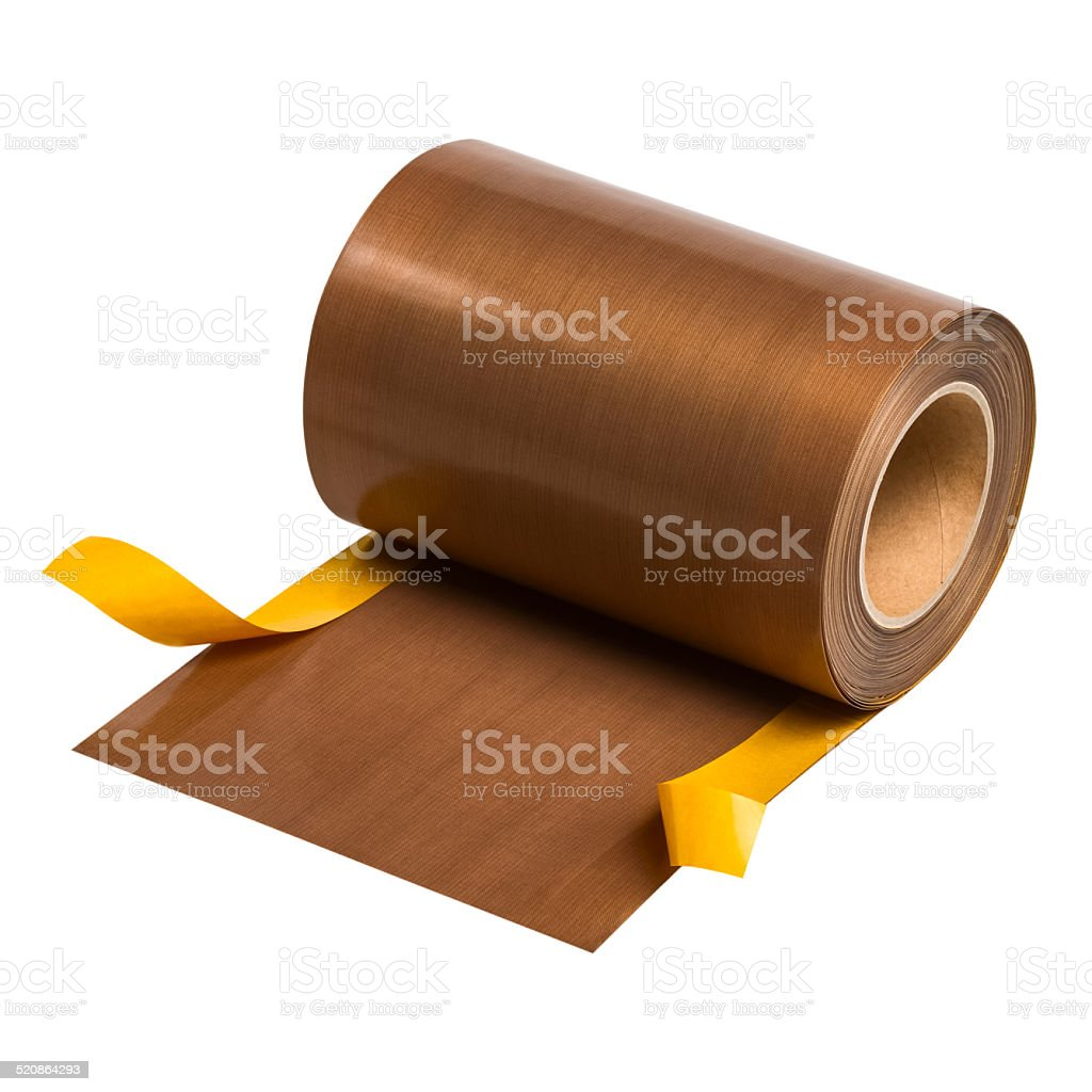 PTFE coated glass fabric with self adhesive layer. stock photo