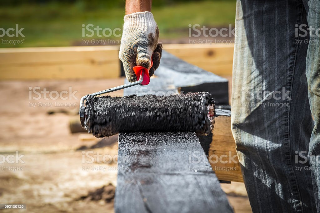Coating the surface of the roller stock photo