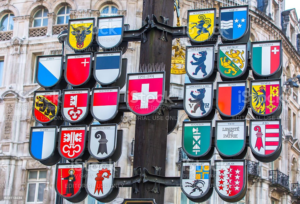 Coats of Arms of Switzerland stock photo