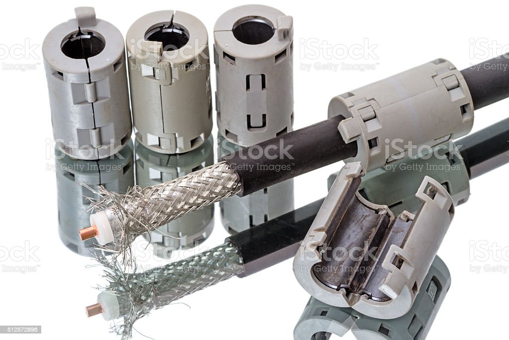 Coaxial cable 50 ohm and ferrite latch stock photo