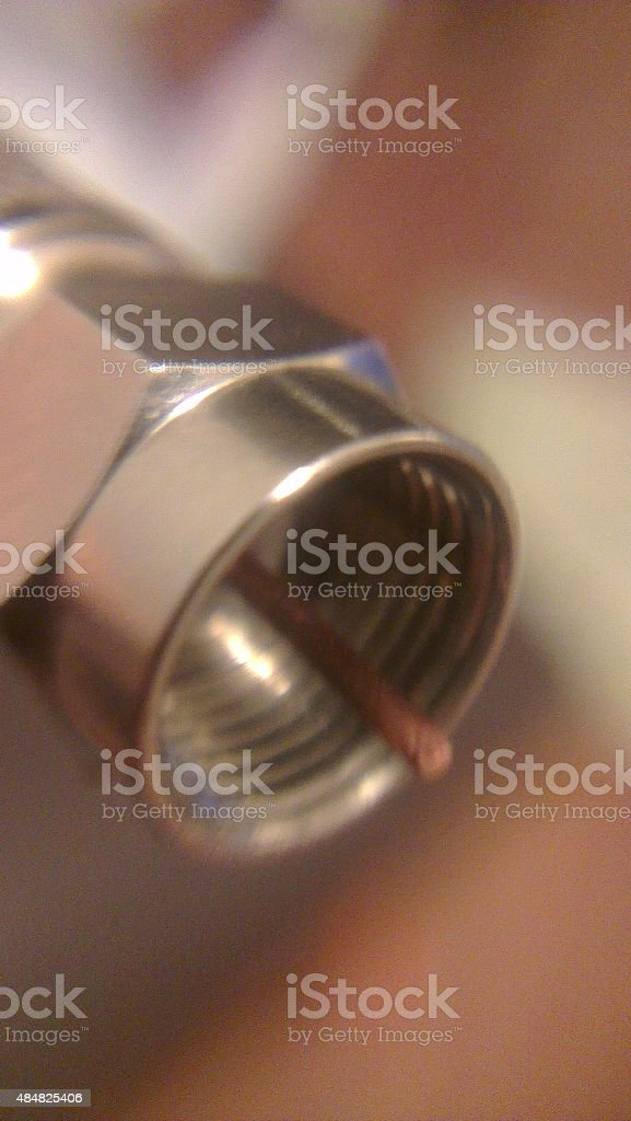Coaxial Cable Connection stock photo