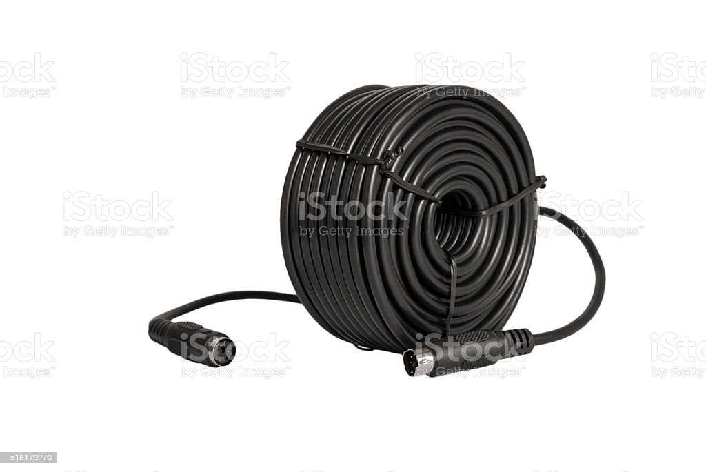 Coaxial cables with PS2 connectors for security cameras (CCTV) stock photo