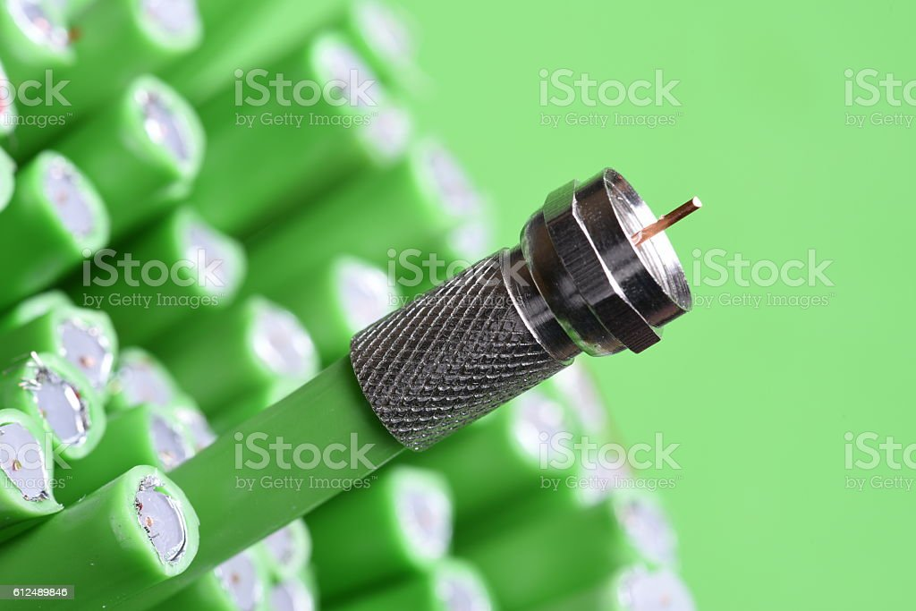Coaxial F connector with cable close up stock photo