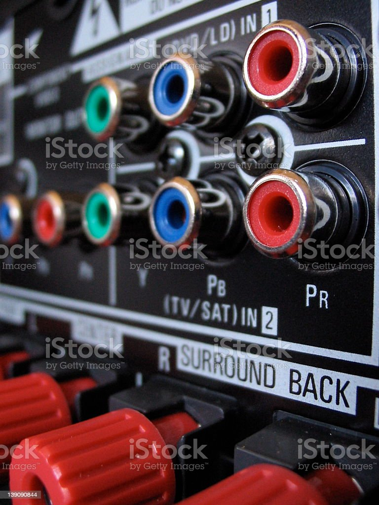 Coaxial plugs - red royalty-free stock photo