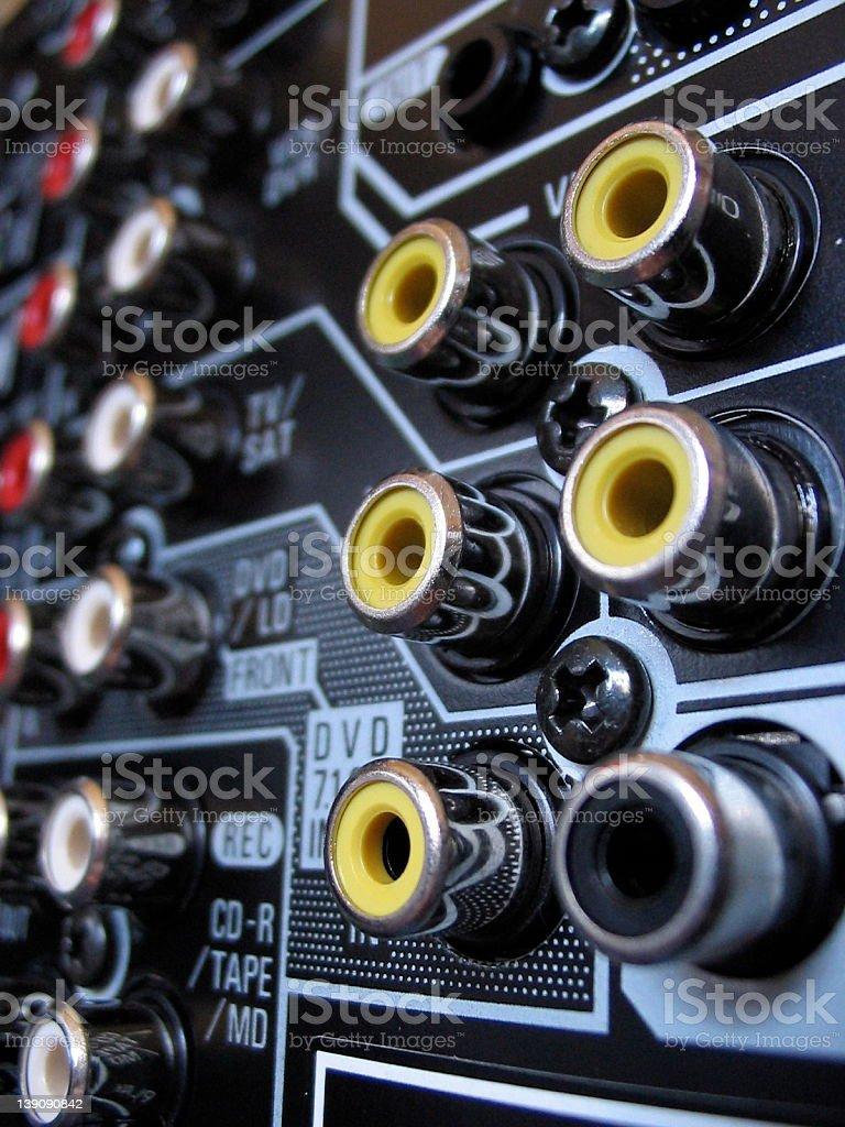 Coaxial plugs - yellow royalty-free stock photo