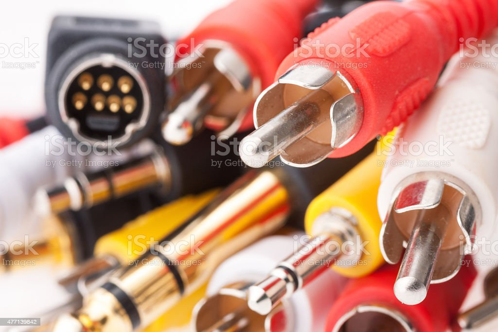 Coaxial television cables stock photo