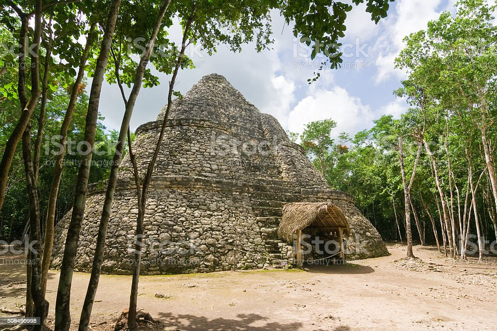 Coba Mayan Observatory Temple called Xaibe or Crossroads or paintings stock photo