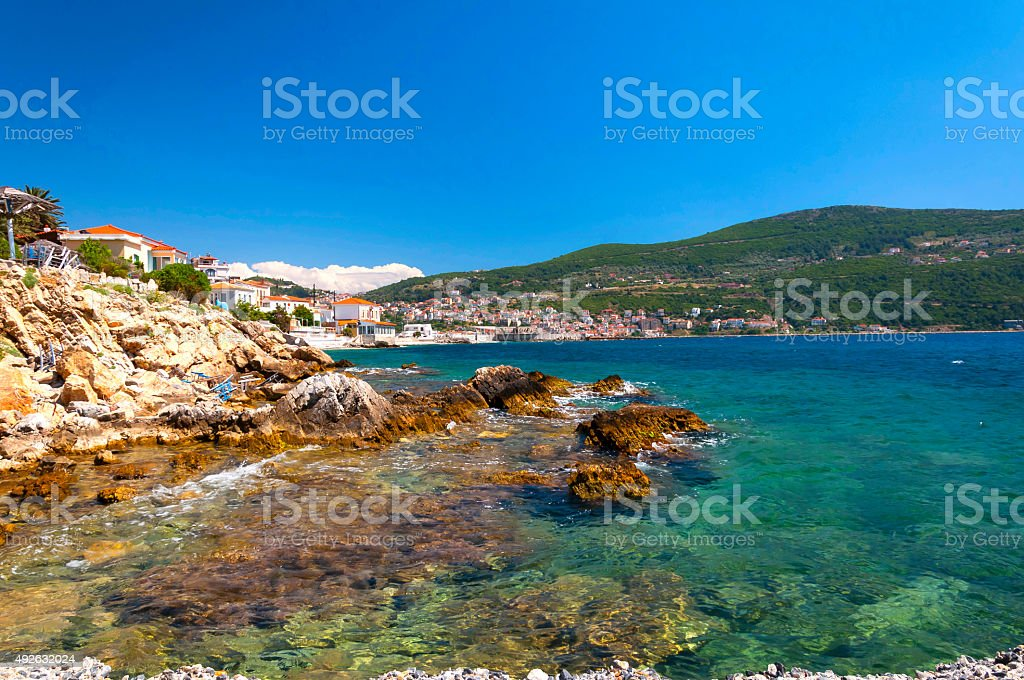 Cobalt blue Aegean sea, mountains and rocks. Samos, Greece stock photo