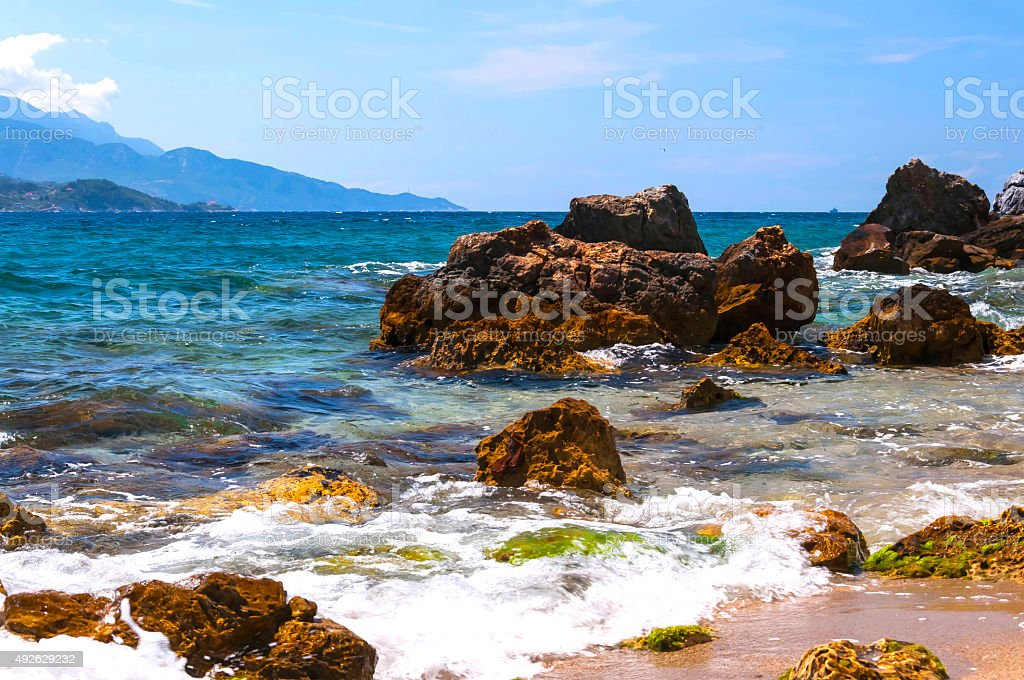 Cobalt blue Aegean sea of Samos, Greece stock photo