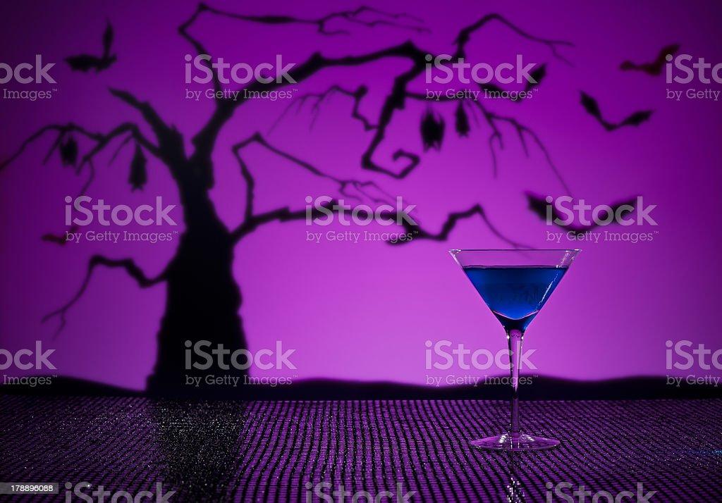 Cobalt Martini in Halloween setting royalty-free stock photo