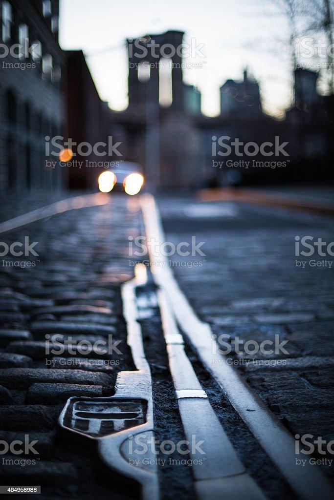 DUMBO Cobble Stone Street stock photo