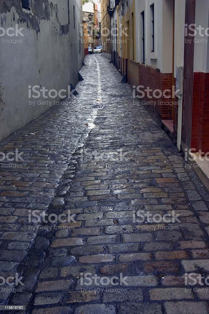cobble street in Seville, Spain royalty-free stock photo