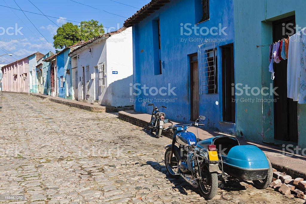 Cobbled Alley of Sancti Spiritus, Cuba stock photo