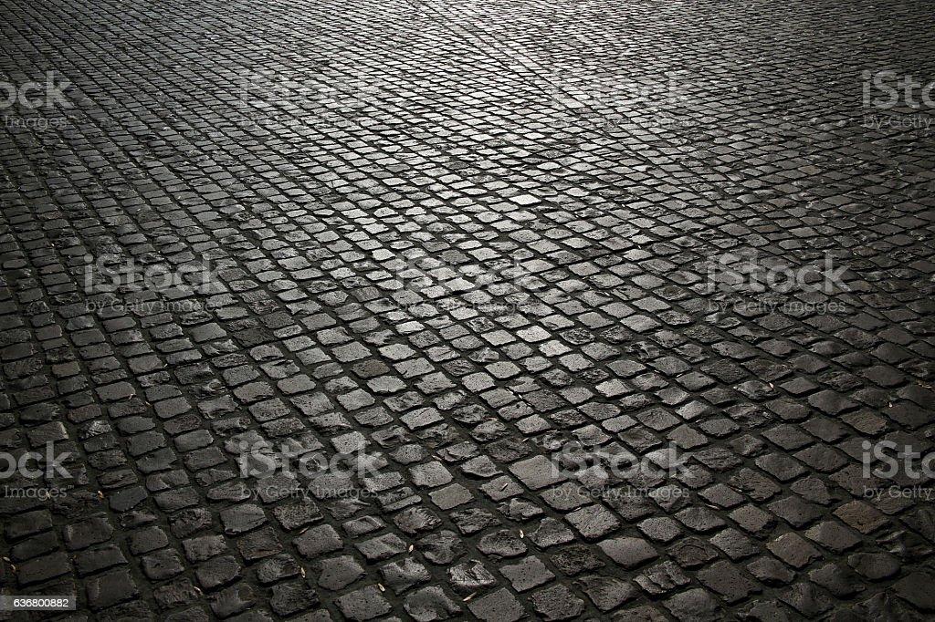 cobbled pavement background stock photo