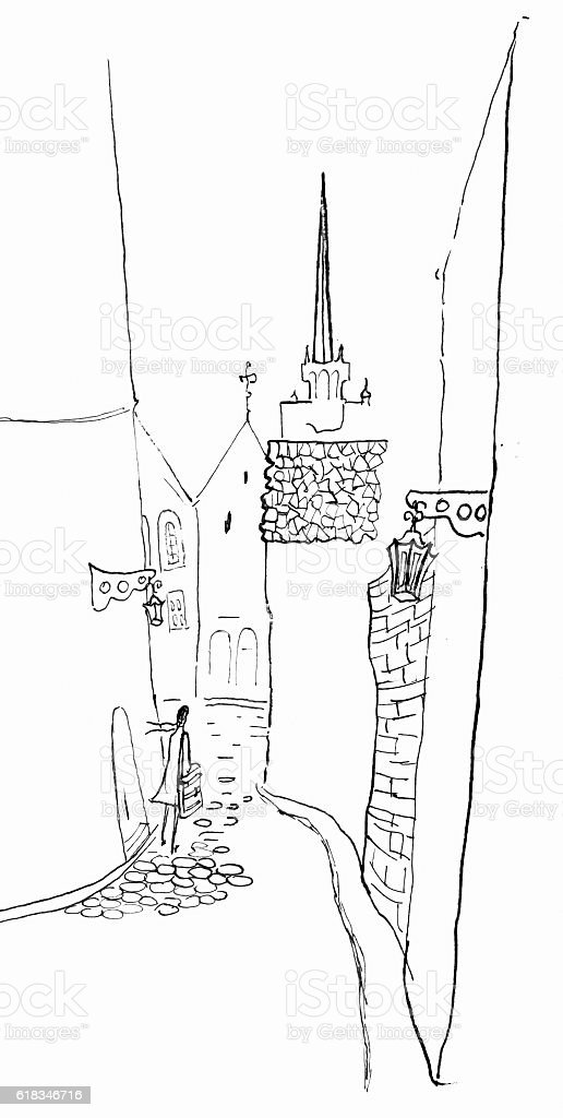 Cobbled  small street in the Old town.Latvia vector art illustration